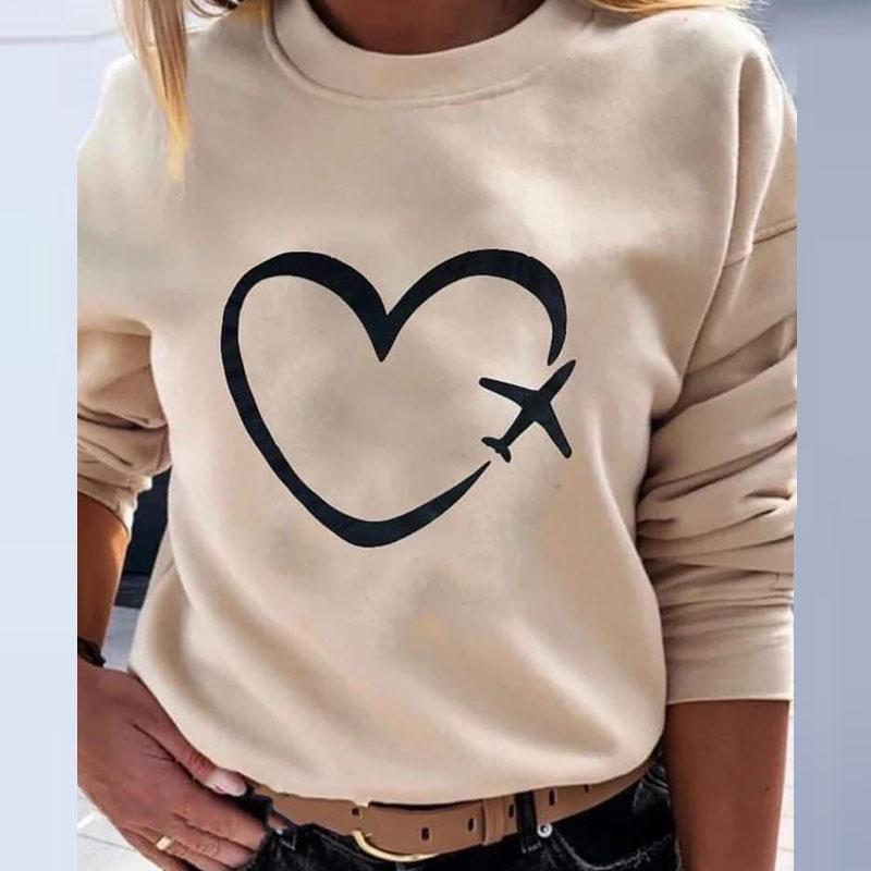 Hooded sweatshirt with colorful hearts print.