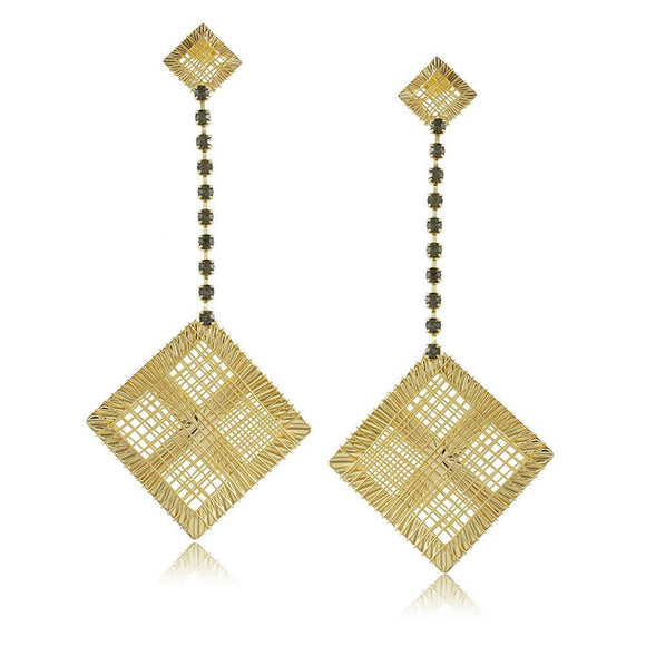10361R 18K Gold Layered Earring Black