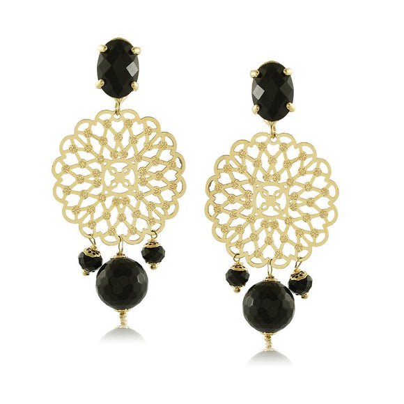 10422R 18K Gold Layered Earring Black