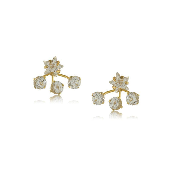 11660R 18K Gold Layered Earring Clear Crystal