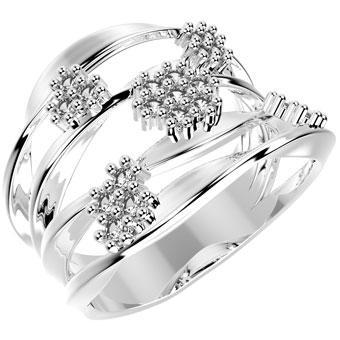 13363P CZ 925 Silver Women's Ring