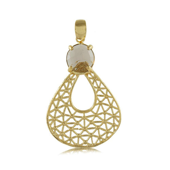 20102R 18K Gold Layered Pendant Gray