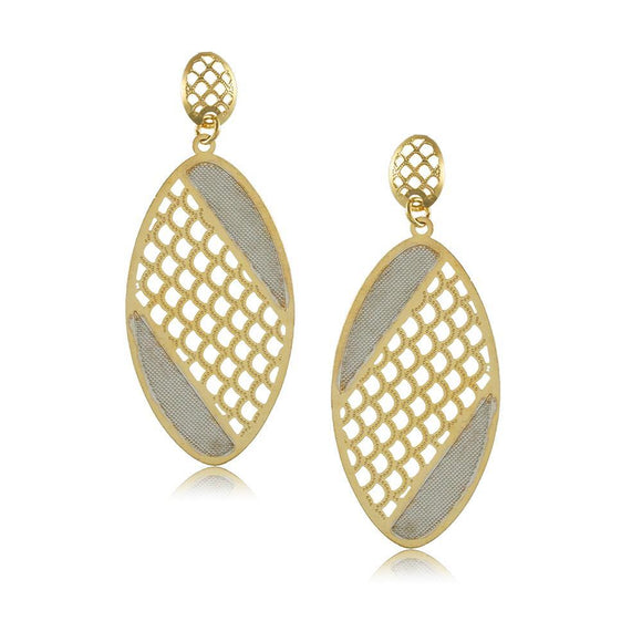 38245 18K Gold Layered -2 Tone Earring