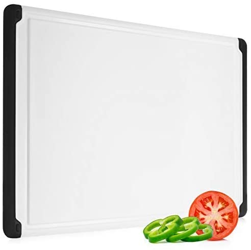 Large Cutting Board with Juice Groove - Plastic Kitchen Chopping Board for Meat Cheese and Vegetables Heavy Duty Serving Tray