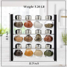 Load image into Gallery viewer, Spice Jar Rack - 12 Durable Glass Jars in Sleek & Attractive Stand Holder