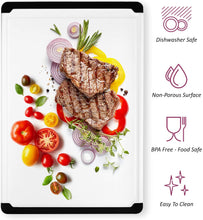 Load image into Gallery viewer, Large Cutting Board with Juice Groove - Plastic Kitchen Chopping Board for Meat Cheese and Vegetables Heavy Duty Serving Tray