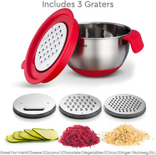 Load image into Gallery viewer, Stainless Steel Mixing Bowls with Grater