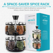Load image into Gallery viewer, Spice Jar Rack -12 Durable Glass Jars in Sleek & Attractive Carousel