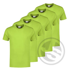 5 x T-shirt Limegroen Large