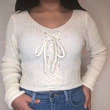 Load image into Gallery viewer, Blissful Lace Up Sweater