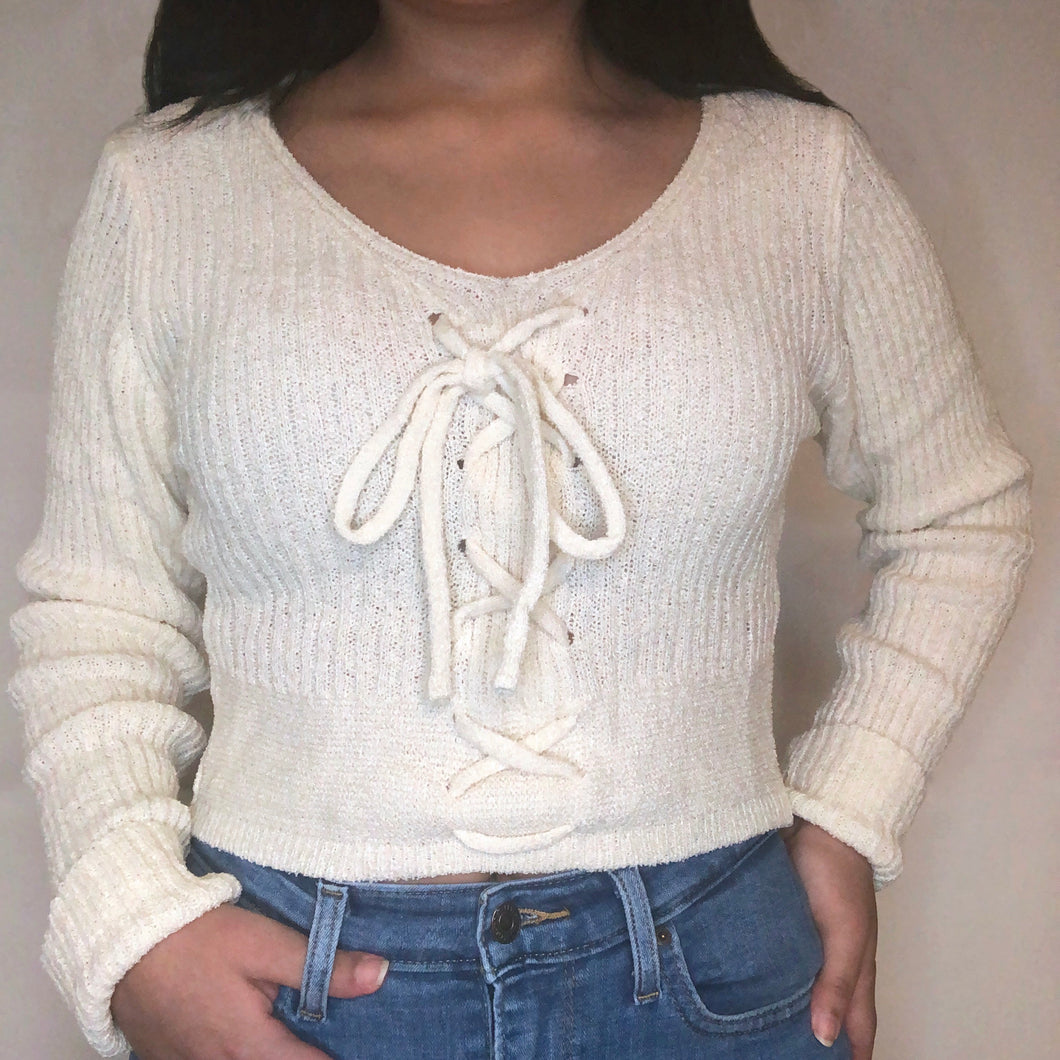 Blissful Lace Up Sweater