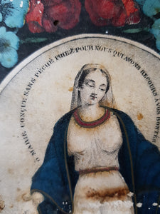 Framed hand painted lithograph Mary Miraculous medal. Estampes Gangel et Metz