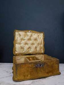 Large antique green velvet jewellery box
