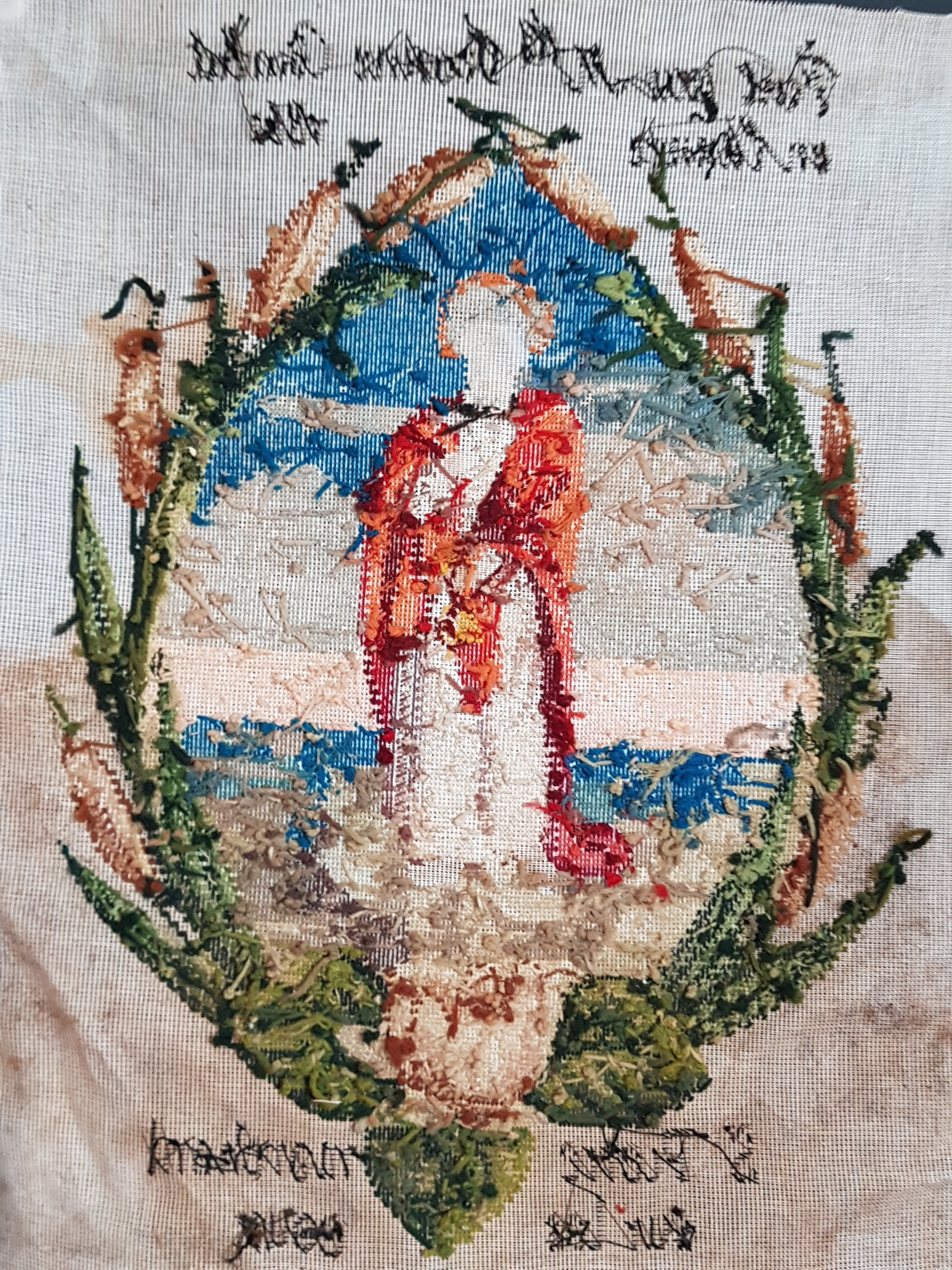 Antique French religious cross stitch St Peter walking on water embroidery 1862