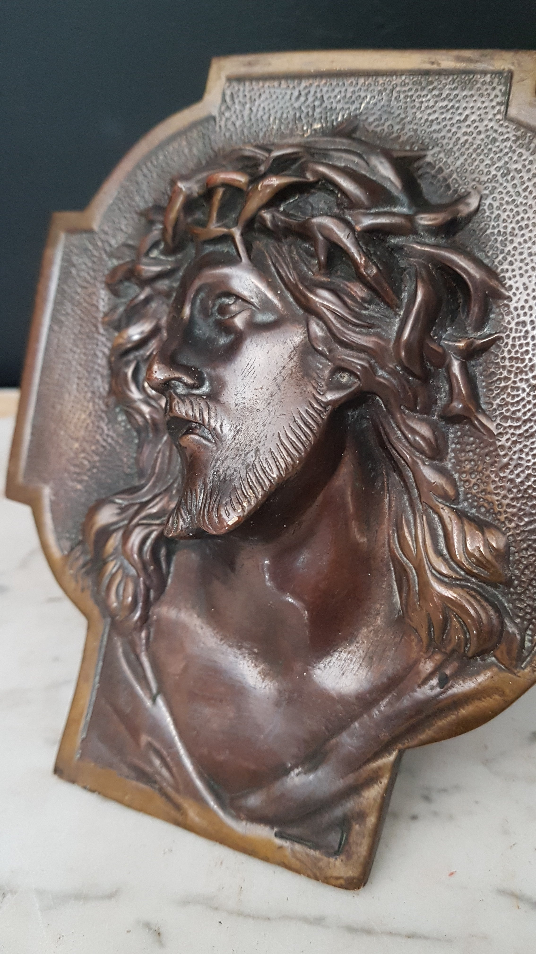 Antique bronze Face of Christ on cross
