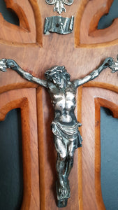 Large Vintage French antique wall Crucifix and Holy water Font carved walnut