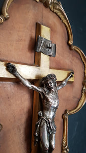 French antique wall crucifix bronze crucifix marquetry marqueterie.