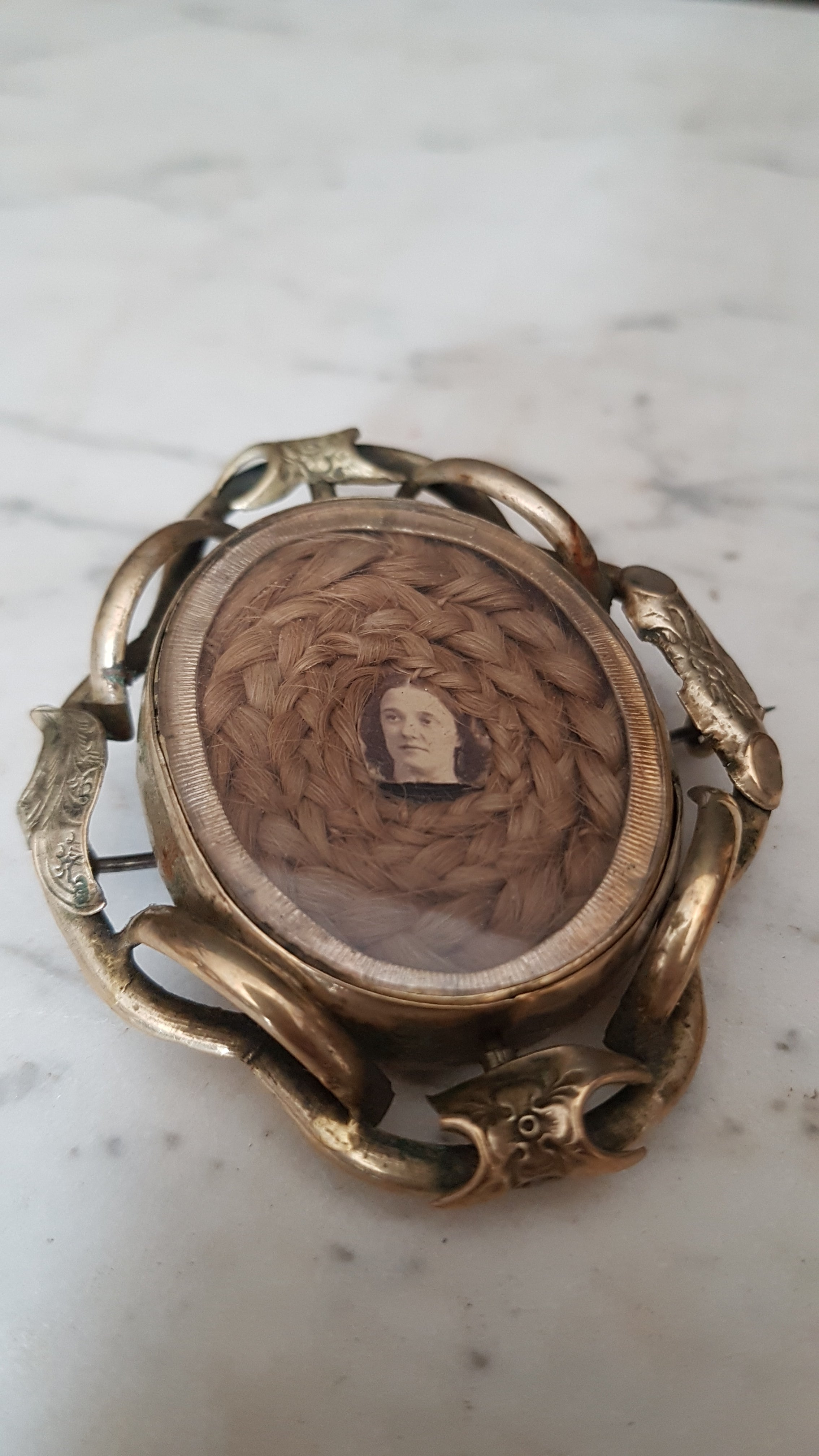 Antique Victorian mourning swivel brooch. Hair and photograph. Pinchbeck / brass