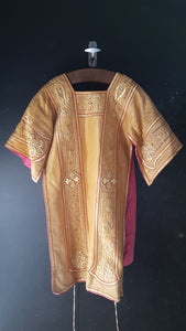 Antique French Chasuble gold pink red priest liturgical vestment