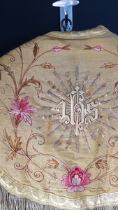 Embroidery detail: Antique French Chasuble gold pink red priest liturgical vestment