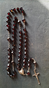 Antique red glass rosary beads. Large prayer beads