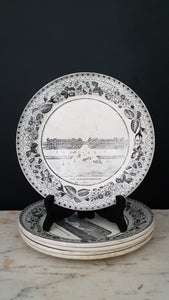 Antique French Paris plates. Musée du Louvre France. Porcelain Choisy. Set of 5.