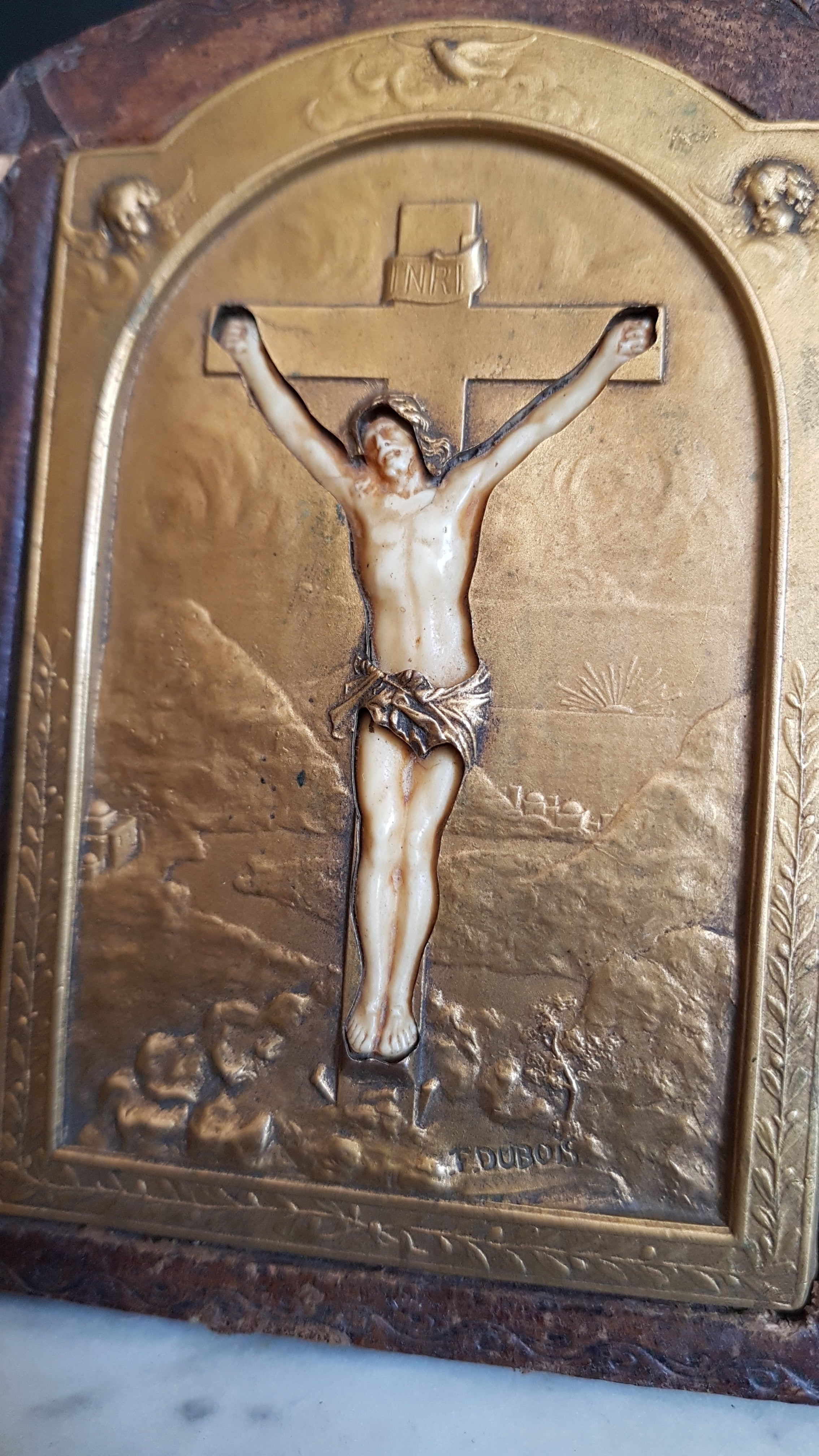 French antique crucifixion reliquary desk frame. Signed F. Dubois