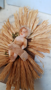 French antique wax baby Jesus in manger. Nativity scene
