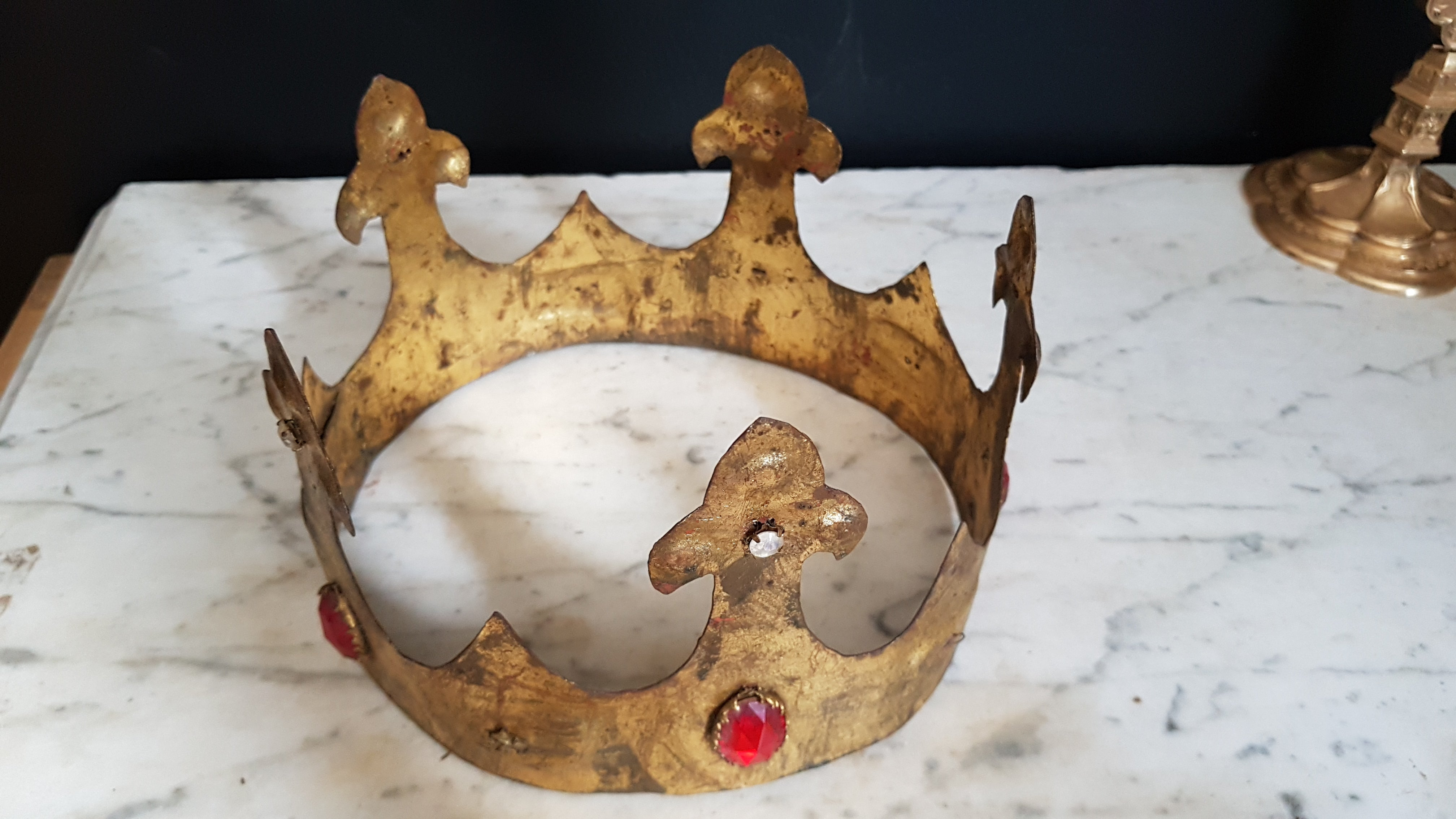 Antique procession crown with rhinestones
