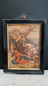 Antique station of the cross VII. Jesus falls the second time