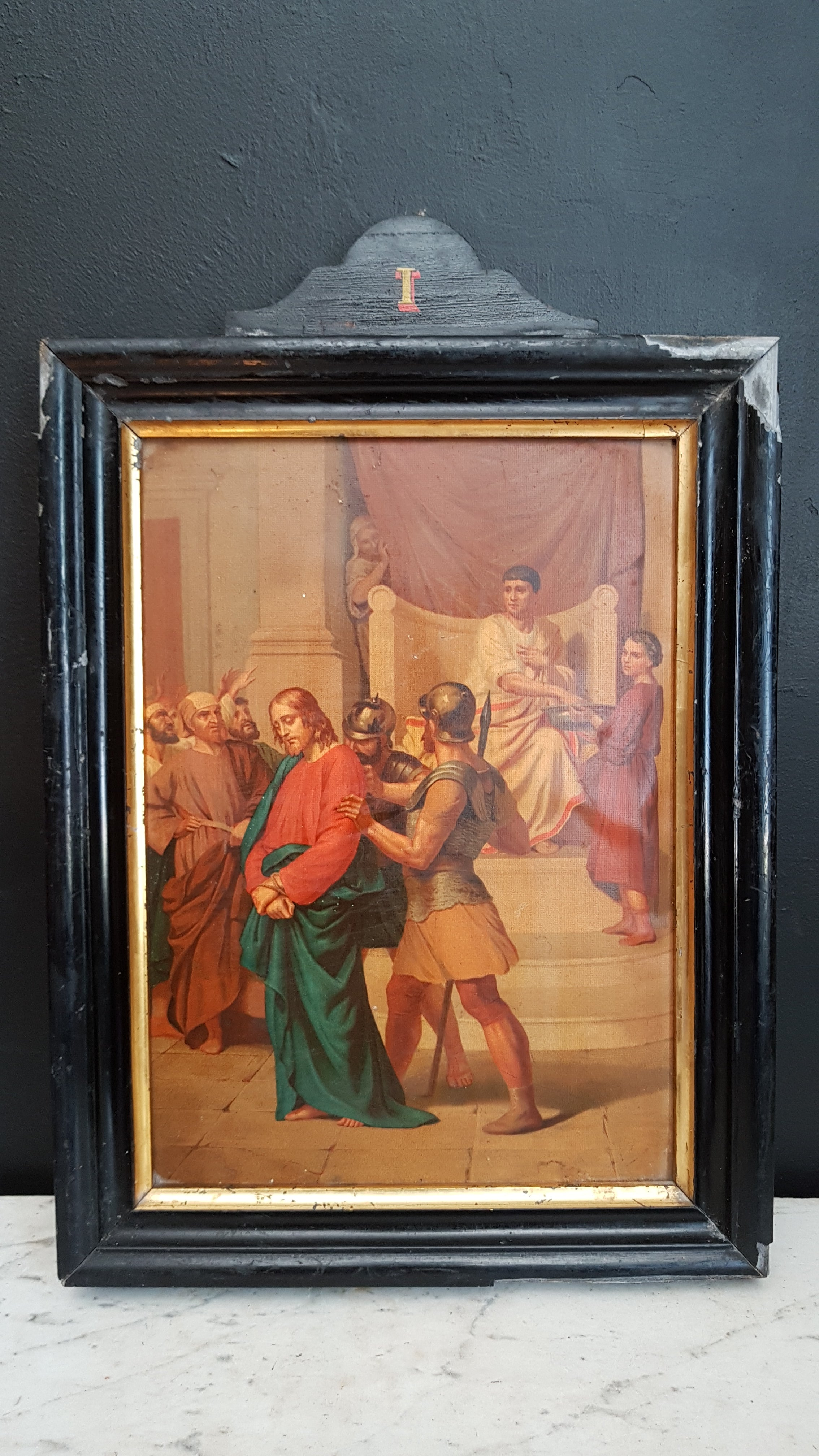 Antique station of the cross I. Jesus is condemned to death