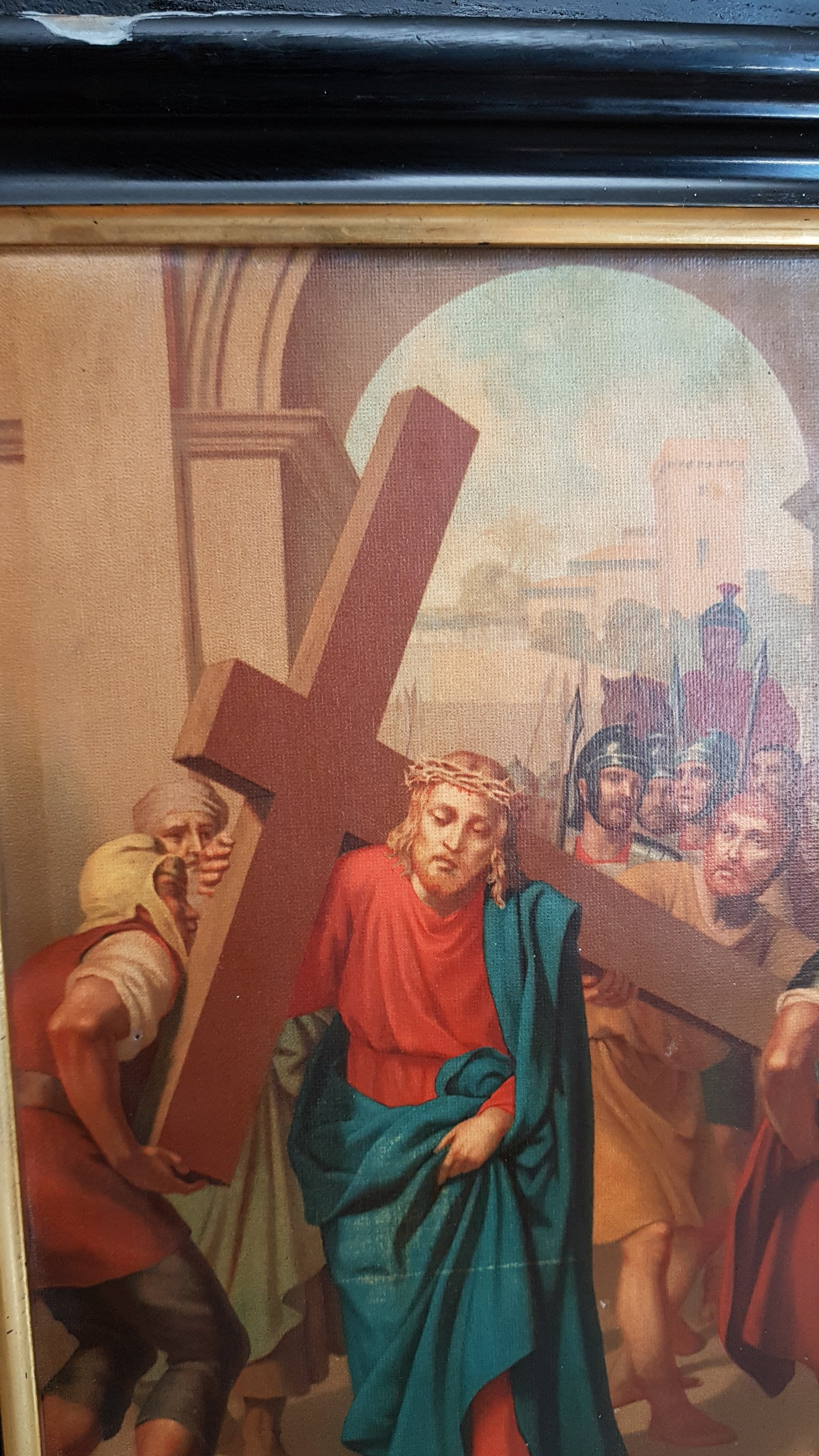 Antique station of the cross II. Jesus carries his cross.