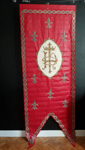 Vintage French convent  Antique red procession banner catholic church ceremonial display