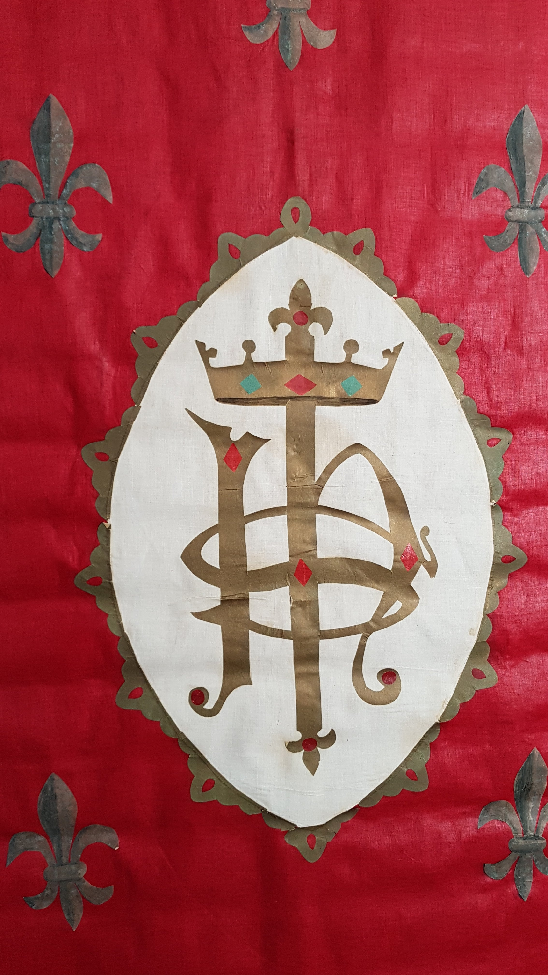 Detail: Vintage French convent  Antique red procession banner catholic church ceremonial display