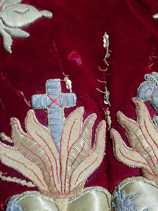 Sacred Heart and Immaculate Heart appliqués. Liturgical vestment. Embroidery
