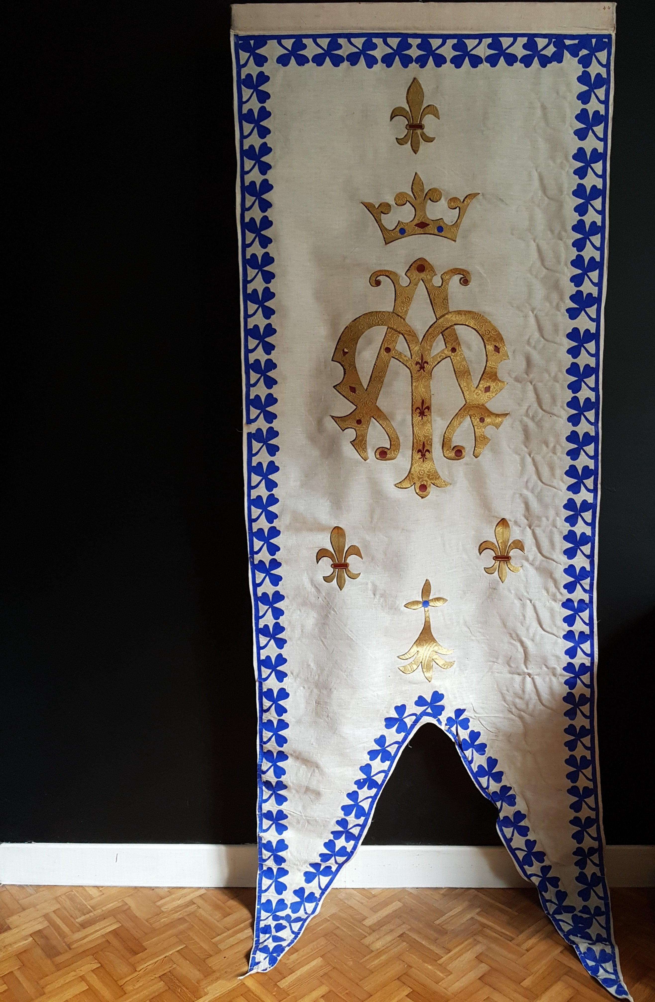 Ave Maria Notre Dame Mary blue white and gold fleur de lis border pennant Vintage Antique red procession banner - catholic church ceremonial display