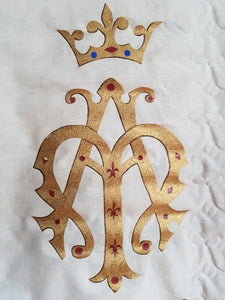 Ave Maria AM Detail Notre Dame Mary blue white and gold fleur de lis border pennant Vintage Antique red procession banner - catholic church ceremonial display