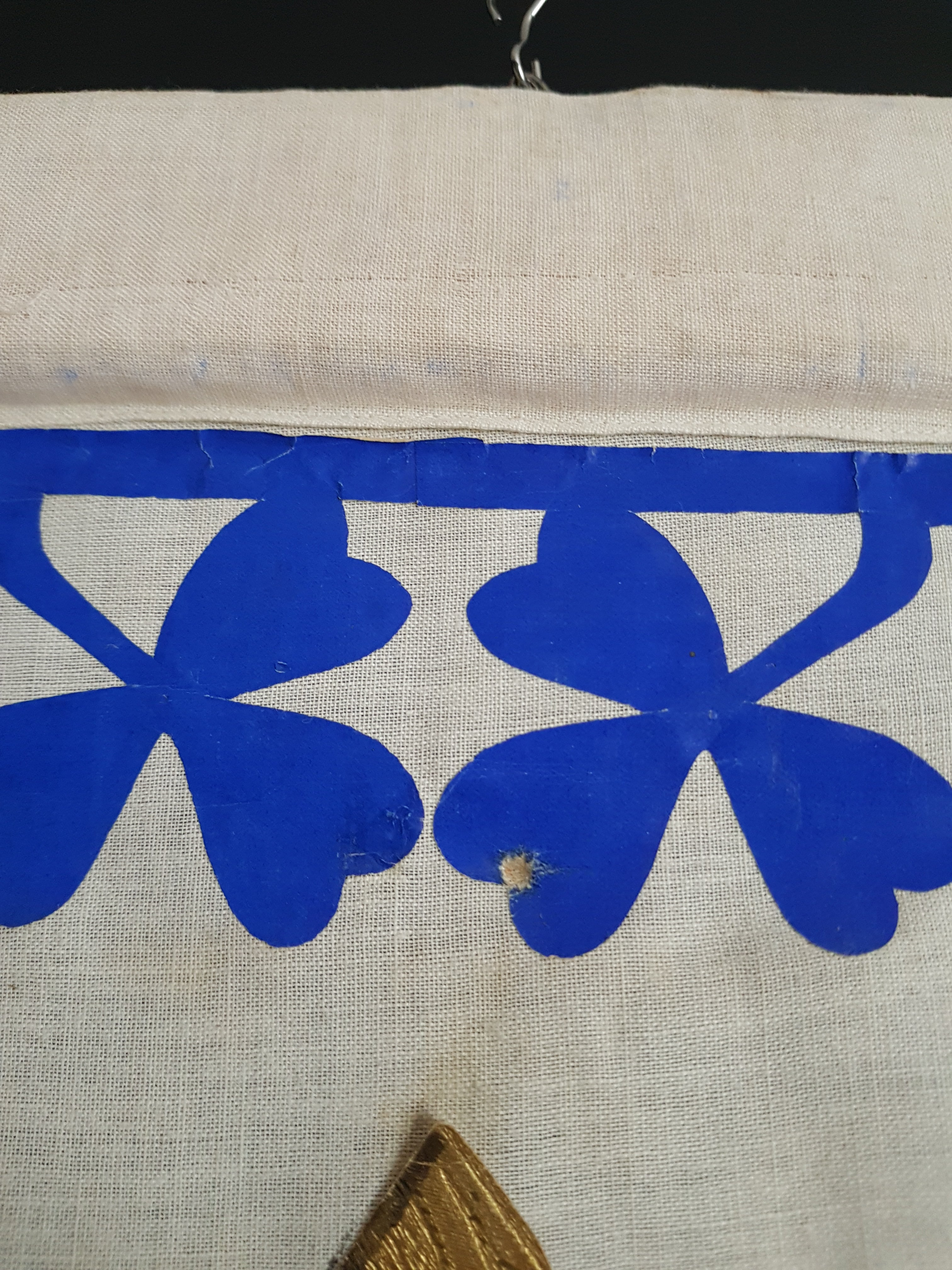 Detail Ave Maria Notre Dame Mary blue white and gold fleur de lis border pennant Vintage Antique red procession banner - catholic church ceremonial display