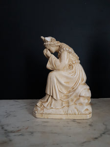 Our lady of La Salette weeping. Antique plaster statue. Pieraccini figurine