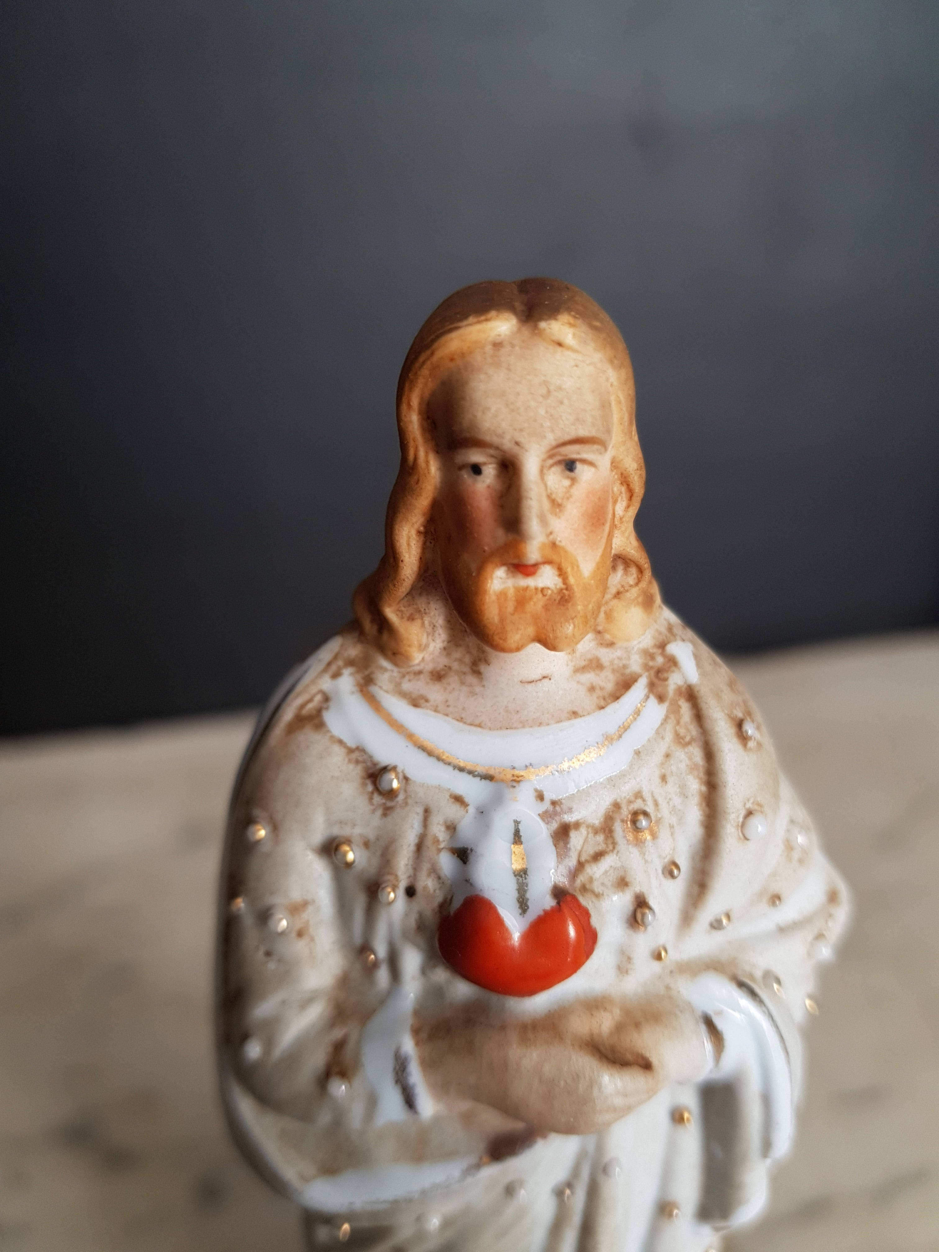 Sacred heart of Jesus bisque statue, figurine. Germany.