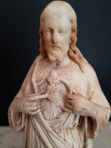 Antique Sacred Heart of Jesus statue signed Pieraccini. Made in France