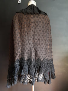 Antique black evening beaded cape. Jet beads