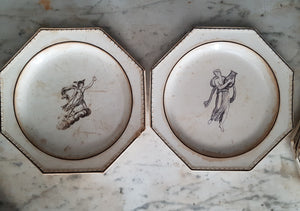 Rare set of 10 antique octagonal plates. Greek gods and godesses. Choisy manufacture