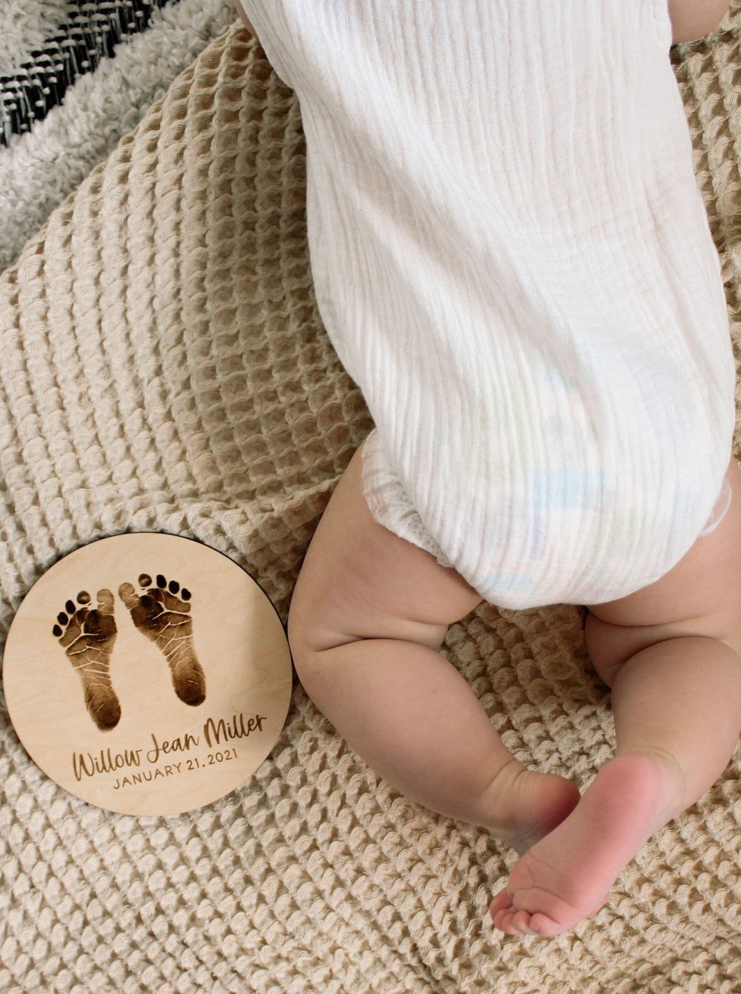 Engraved Newborn Footprint Sign