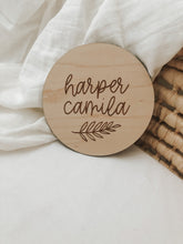 Load image into Gallery viewer, Custom Wood Birth Announcement Sign | Harper Style