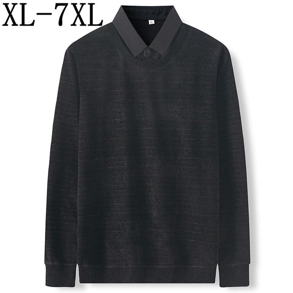7XL 6XL 5XL Shirt Collar Fake Two Pieces Sweater Men 2020 Fall Winter New Business Loose Pullover Sweaters Soft Warm Pull Homme