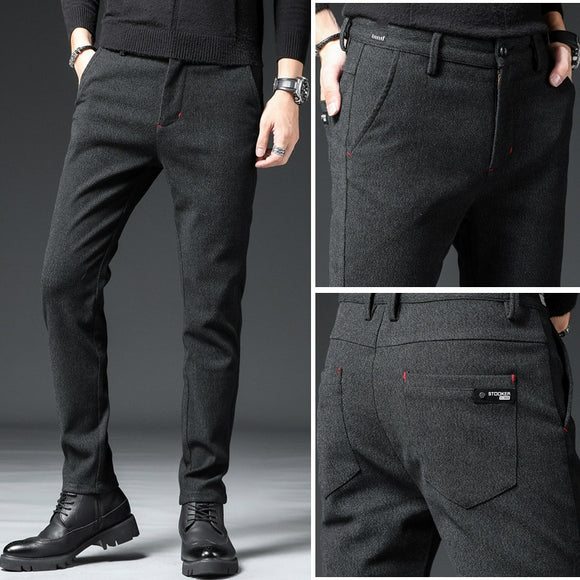 2020 Autumn Spring New Men's Skinny Stretch Casual Pants Fashion Slim Fit Trousers Male Khaki Brown Black Blue Brand Clothes