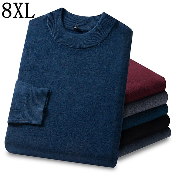 8XL 7XL 6XL New Business Half Turtleneck 100% Wool Sweater Men Clothing 2020 Fall Winter Thick Warm Mens Pullover Sweaters Tops