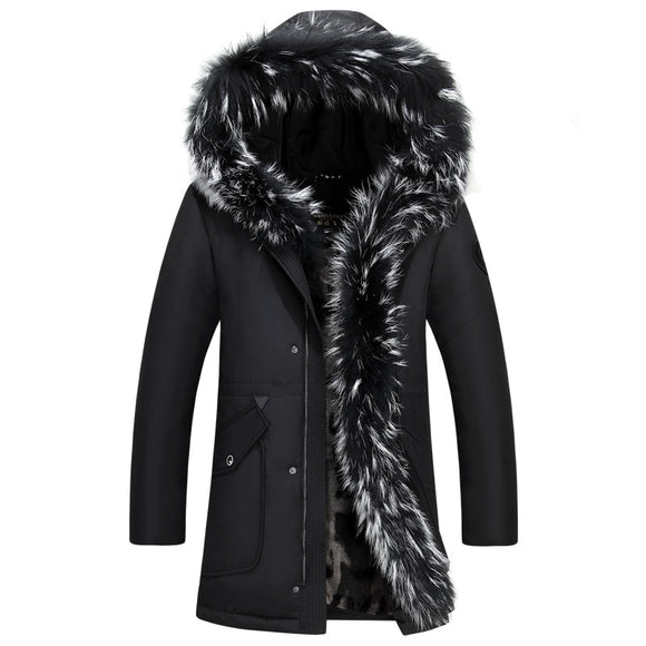 2019 Winter Down Jacket Men Coat Jacket with Fur Hood Removable Parka Men Coat Masculine Down Jacket Plus Size 4XL 5XL