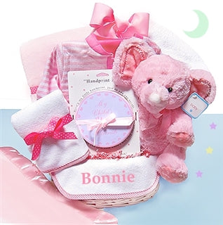 Minky Dots Pink Girl Gift Basket